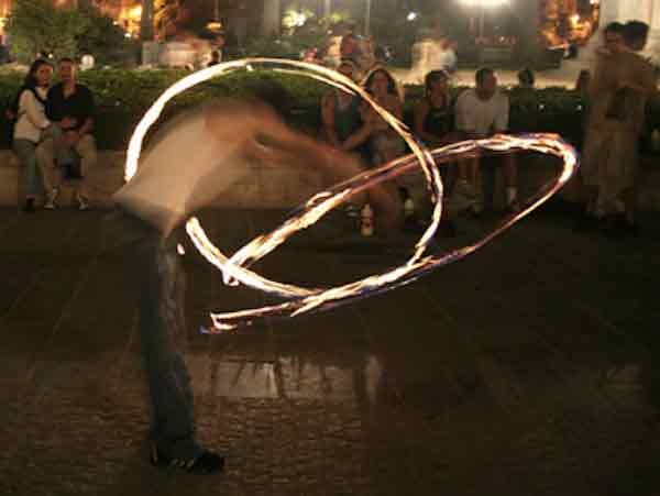 Fire spinning in Krakow, Poland.
