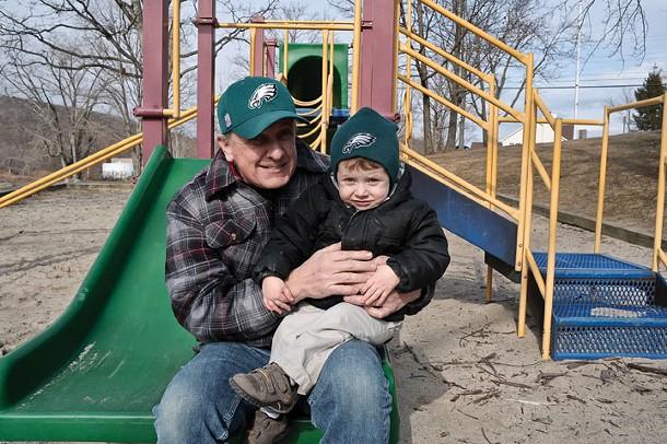 Frank McGrath and his grandson Maxwell Silver McGrath at Berean park in Highland. - DAVID MORRIS CUNNINGHAM