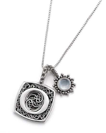 from hummingbird jewelers in Rhinebeck, Lori Bonn silver necklaces let you match a person's initial with their birthstone.