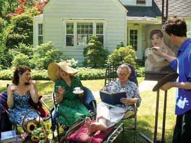 """From left to right: Jess Crandall, Audrey Rapoport, Robert Lloyd, John Gazzale will perform a site-specific version of Noel Coward's """"Hay Fever"""" in Woodstock this month."""