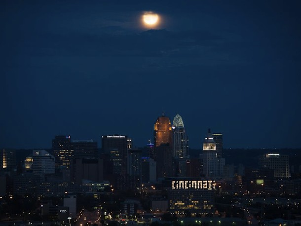 Full Moon over Cincinnati on August 31, 2012 - NASA/BILL INGALLS