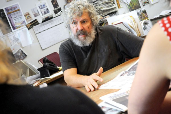 Geddy Sveikauskas leading Ulster Publishing's weekly editorial meeting on August 9 in Kingston.