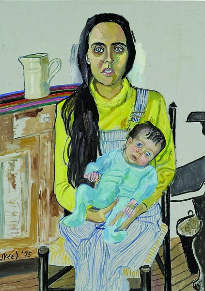 "Ginny and Elizabeth, Alicve Neel, oil on canvas, 42"" x 30"", 1975. © Estate of Alice Neel."