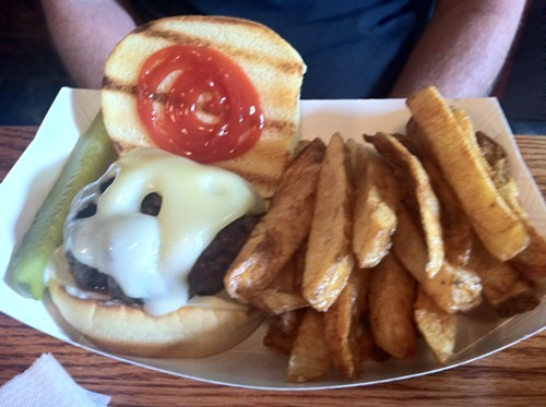 Grass-fed burger at Matchbox Cafe in Rhinebec