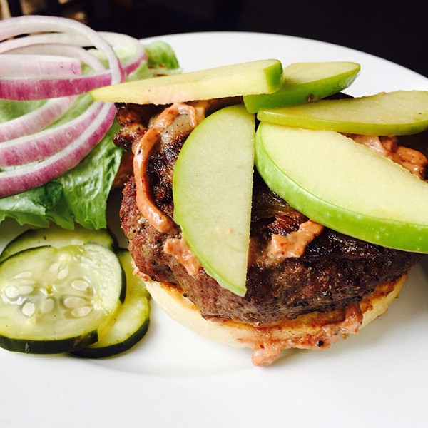 "Grazin' TriBeCa's first special burger, ""The Manhattan""—bourbon bacon, Vermouth apples, cherry aioli"