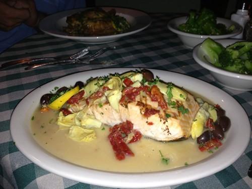 Grilled Salmon at Stellas Italian restaurant
