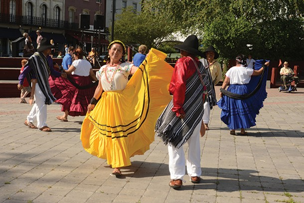 Grupo Folklorico Poughkeepsie performing a traditional Oaxacan dance at the Reher Center Block Party on at T. R. Gallo Waterfront Park on June 9.