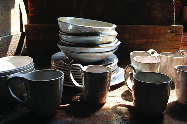 Handmade dinnerware from Tivoli Tile Works.