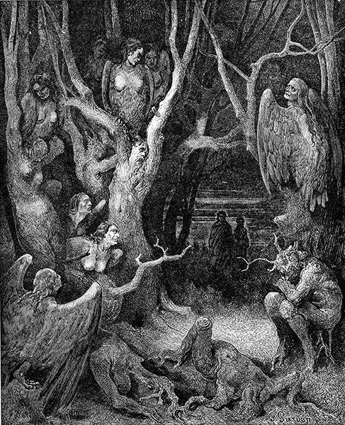 Harpies in the Forest of Suicides, an 1861 engraving by Gustave Doré.