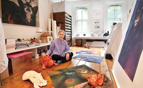 Harrison in her second-floor studio.