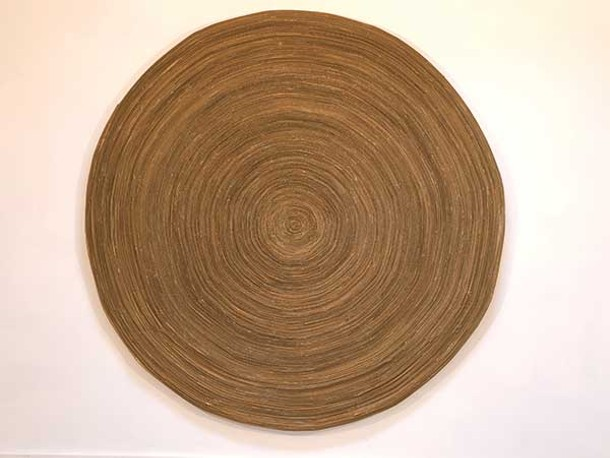 "Henry Klimowicz, Circle #1, corrugated cardboard, 72"" x 72"", 2008."