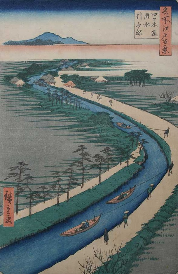 Hiroshige ( 1787-1858) , 100 Views of Edo, Yotsugi Road Hauling Canal Boats , 1857. Photo courtesy of James Cox Gallery at Woodstock