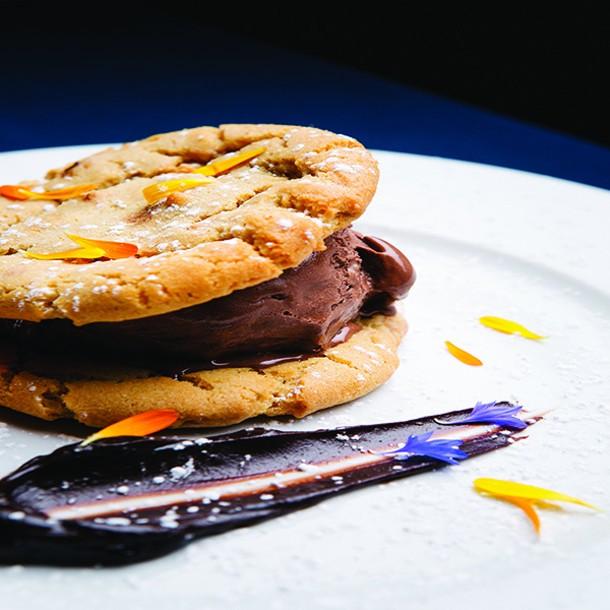 Ice cream sandwich with housemade chocolate ice cream. - THOMAS SMITH
