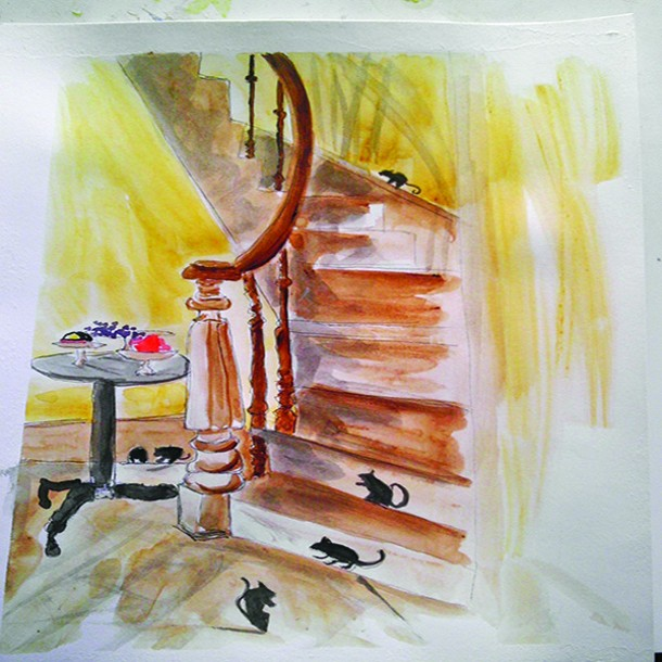 Illustration of the creaky stairs of the Dietz House in Hudson.