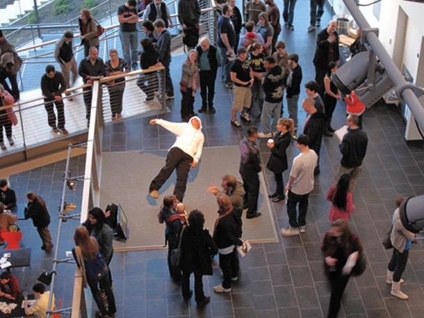 """In Just a Blink of an Eye,"" by Xu Zhen, at the ""Dancing on the Ceiling"" opening at EMPAC in Troy on Mach 18."