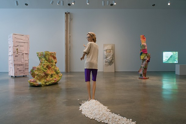 "Installation view of works in Rachel Harrison's ""Consider the Lobster,"" on view through December 20 at the Center for Curatorial Studies and Hessel Museum of Art at Bard College."