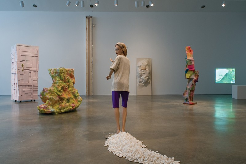 """Installation view of works in Rachel Harrison's """"Consider the Lobster,"""" on view through December 20 at the Center for Curatorial Studies and Hessel Museum of Art at Bard College."""
