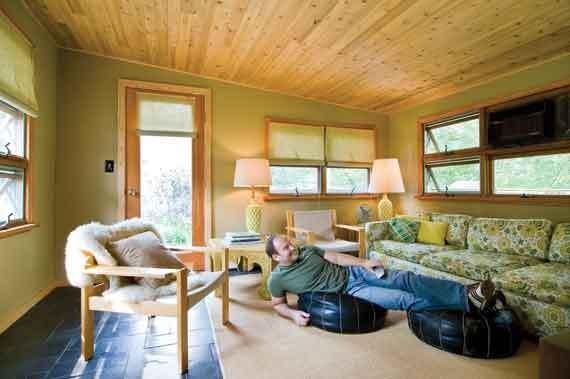 Jeff Blum in his entertainment room, a renovated porch. - DEBORAH DEGRAFFENREID