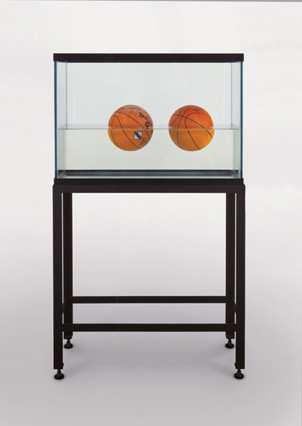 """Jeff Koons, Two Ball 50/50 Tank Glass and steel tank with 2 basketballs in distilled water, 1985, 62.75"""" x 36.75"""" x 13.25"""""""