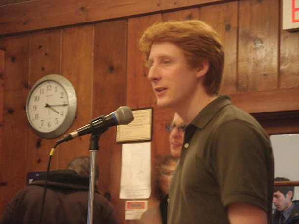 John Armstrong from Frack Action speaks at the Rochester Defense Against Fracking Forum in Marbletown on March 4.