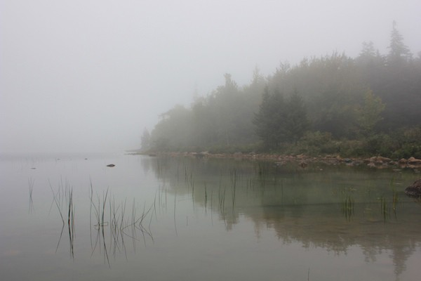 Jordan Pond shrouded in mist, Acadia National Park. - AMANDA PAINTER