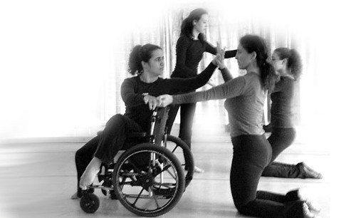 Jorelle Pomé in rehearsal with Kyle Ducham, Ruby Bard, and Beth Woronoff