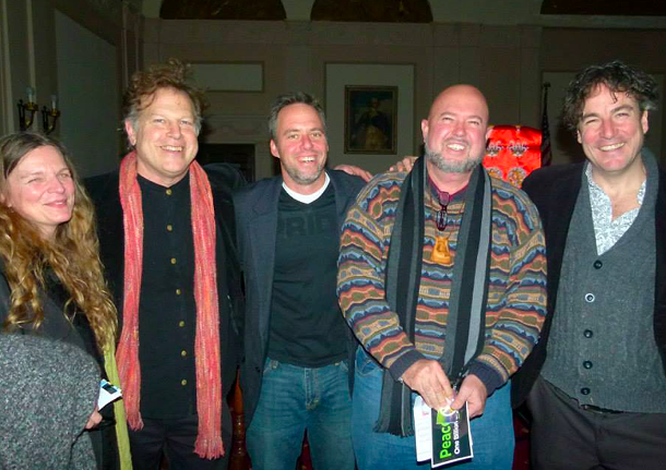 Julie Hedrick, Peter Wetzler, Brian K. Mahoney, Scotty Bruer, and Kerry Henderson after the conert for healing by Yungchen Lhamo at Kingston City Hall on December 7. - GLORIA WASLYN