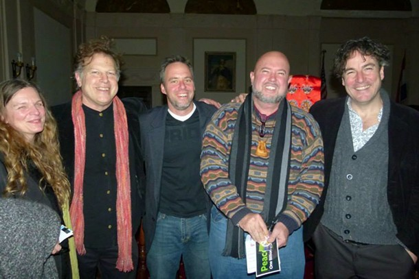 Julie Hedrick, Peter Wetzler, Brian K. Mahoney, Scotty Bruer, and Kerry Henderson after the conert for healing by Yungchen Lhamo at Kingston City Hall on December 7.