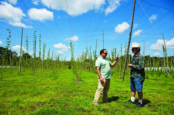 Justin Riccobono with Kevin Fischetti at Dutchess Hops in Lagrangeville. - ROY GUMPEL