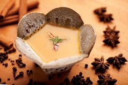 Kabocha squash soup made with turkey pho; Bowl by Peter Barrett. - JENNIFER MAY