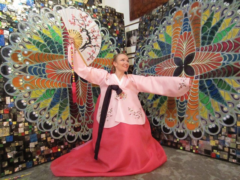 Karen Kriegel of the World Dance Initiative performing Korean dance at the Varga Gallery in Woodstock, part of the Woodstock Goddess Festival on March 10. Photo: Christina Varga.