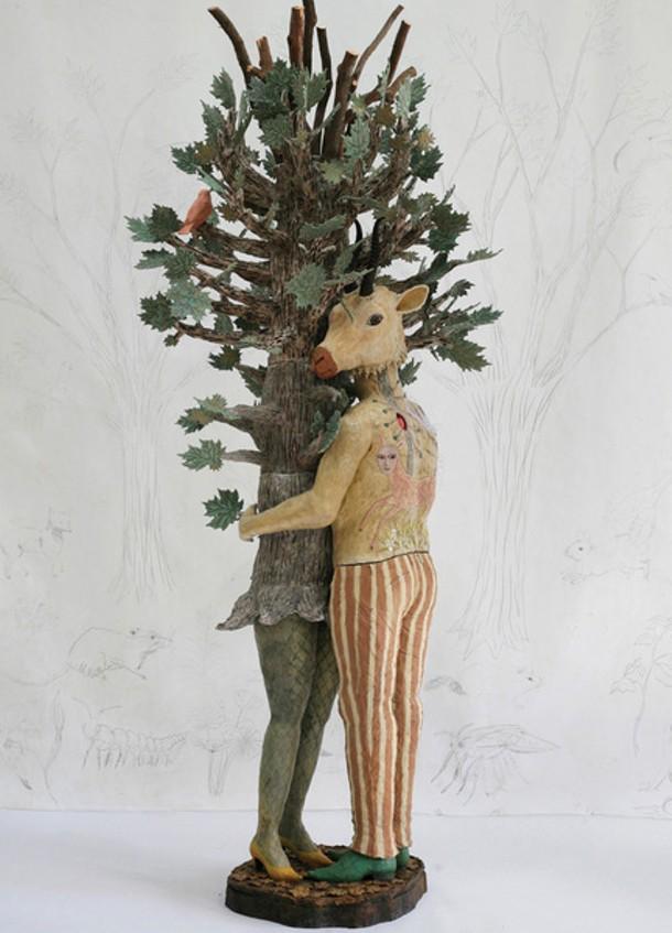"kathy ruttenberg   ceramic, bronze, wood   92"" x 35"" x 40""  2010"