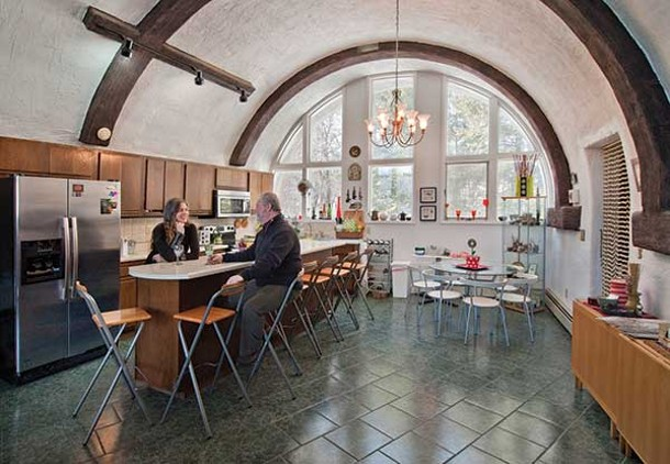 Kitchen of Gaudí-inspired, folk art dream home in Highland.