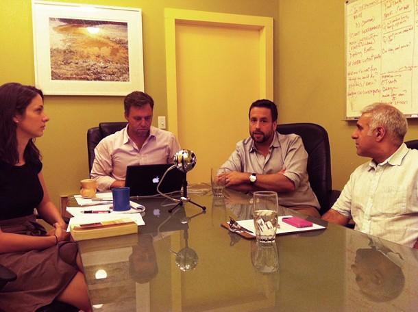 (L-R) Jennifer Gutman, Brian K. Mahoney, Gideon Lester, and Jay Blotcher in Chronogram's recording room.