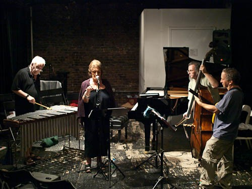 Left to right: Karl Berger and Ingrid Serto perform with bassist Michael Bisio and guitarist Kenny Wessel.