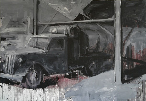 """Leonardo Silaghi, untitled, oil on canvas, 84"""" x 120"""", 2010. Silaghi's work is on display at the Hudson Valley Center for Contemporary Art, part of the exhibit """"After the Fall."""""""