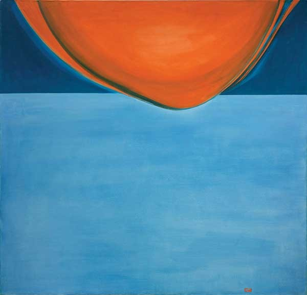 """""""...Let there be a firmament in the midst of the waters, and let it separate the waters from the waters."""" (The Breaking of the Waters). Cynthia Harris-Pagano, oil painting, 50"""" X 52"""", 1971."""