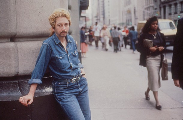 Linda Mary Montano posing as a young Bob Dylan. New York City, 1989.