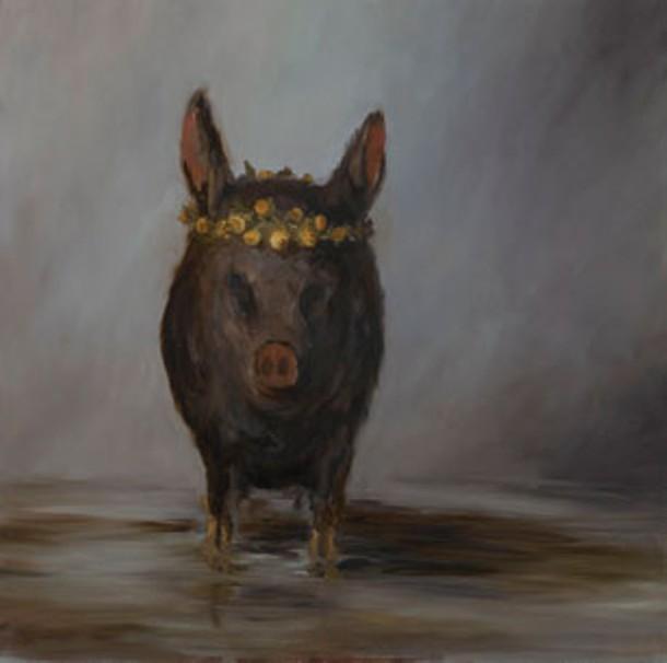 """Little Stinkin' Piglet,"" Joe Concra, oil on canvas, 36"" x 36"", 2011."