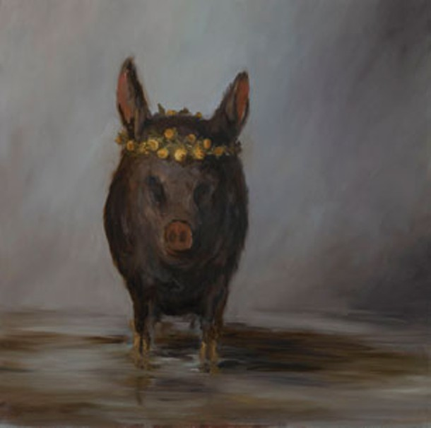 """Little Stinkin' Piglet,"" Joe Concra, oil on canvas, 36"" x 36"", 2011."