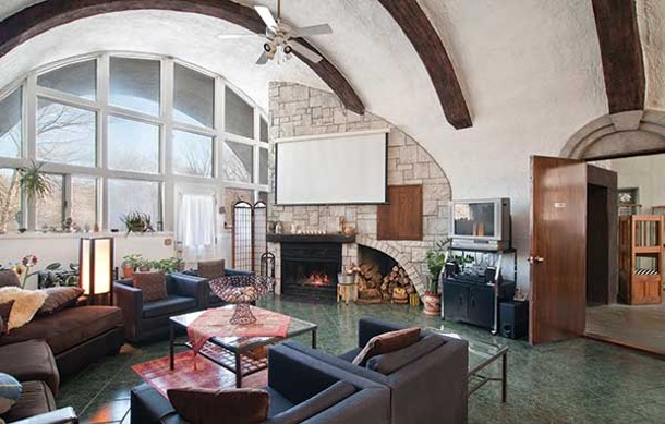 Living room of a Gaudí-inspired, folk art dream home in Highland.
