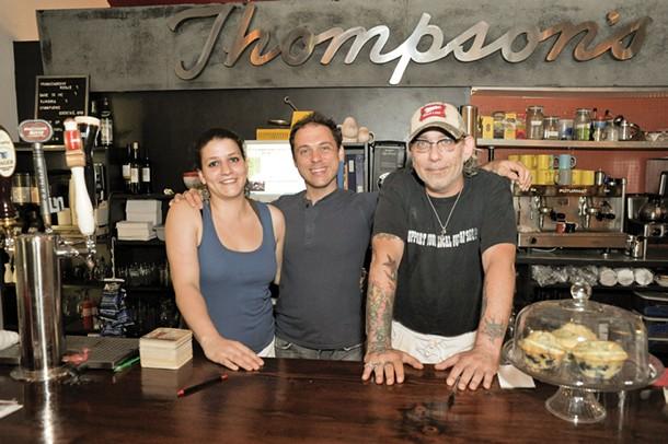 Liz Cook, Jude Roberts, Jeff McCoy at Market Market in Rosendale. - DAVID MORRIS CUNNINGHAM
