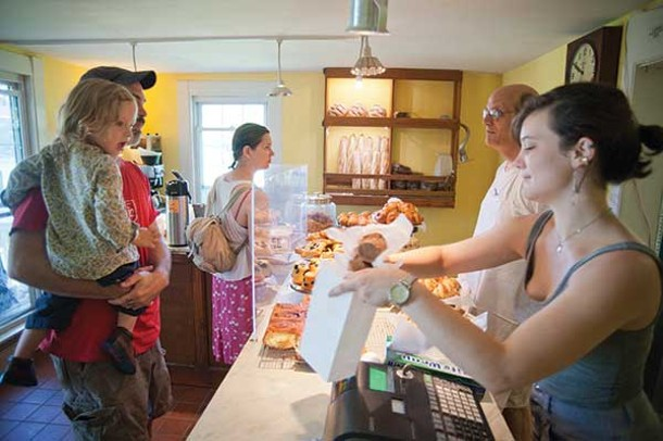 Lucian Diamond, Jonny Diamond, Dr. Ruby K, Mike Gonnella, and Ellie Gunther-Mohr at Tivoli Bread and Baking. - ROY GUMPEL