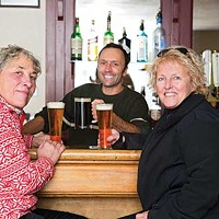 The Best of the Wurst Lynne Faurie and Barbara Masterson at the bar with co-owner Dirk Schalle. Karen Pearson