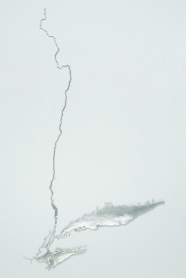 Maya Lin, Silver River-Hudson, recycled silver, 2011, - KERRY RYAN MCFATE/COURTESY PACE GALLERY