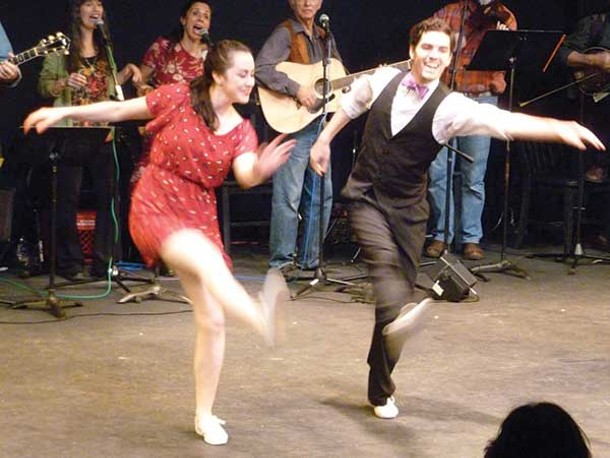 "Members of Vanaver Caravan swing dance during Unison's presentation of ""Pastures of Plenty: Woody Guthrie in Dance and Music"" at SUNY New Paltz on November 3. - STUART BIGLEY"