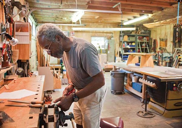 Michael Puryear in his workshop. - DEBORAH DEGRAFFENREID