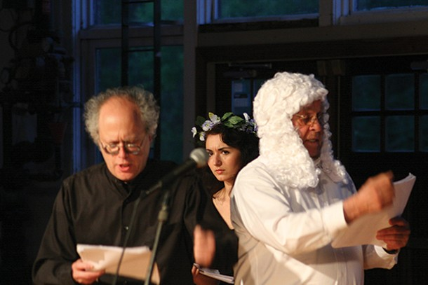 "Mikhail Horowitz, Zoe West, and John LeFever in ""Jarry,"" which was staged at the Saugerties Performing Arts Factory on May 17-18 and 24-25."