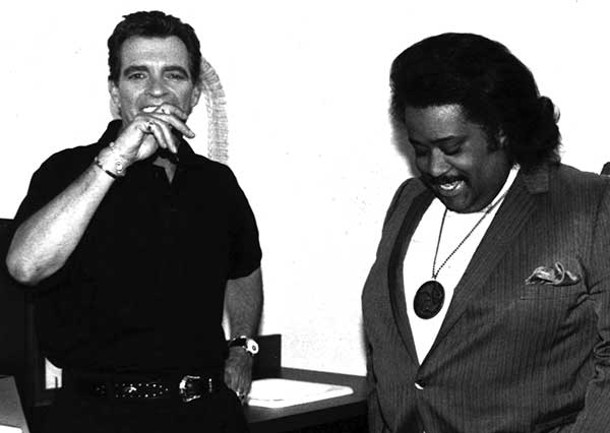 Morton Downey Jr. and Rev. Al Sharpton in Evocateur: The Morton Downey Jr. Movie, screening at Upstate Films in Rhinebeck on August 4.