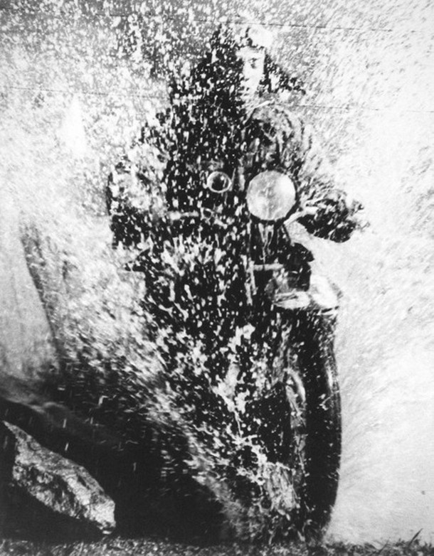 Motorcyclist; gelatin-silver print; 1923; courtesy of the Howard Greenberg Gallery.